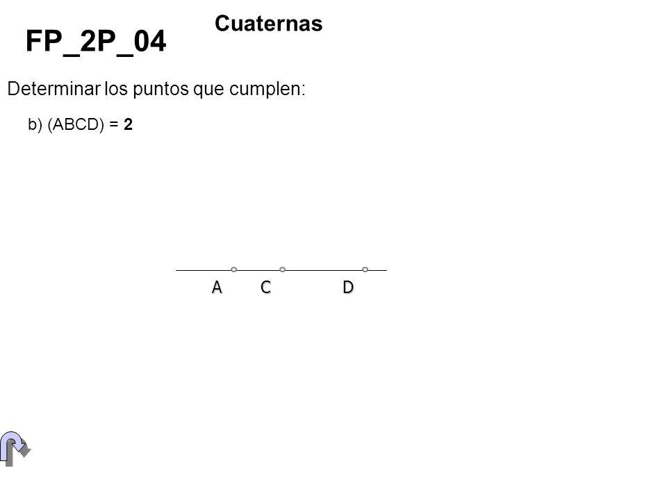 Determinar los puntos que cumplen: FP_2P_04 Cuaternas b) (ABCD) = 2 ACD