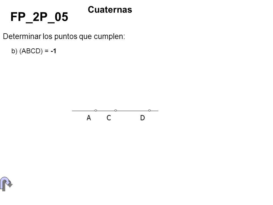 Determinar los puntos que cumplen: FP_2P_05 Cuaternas b) (ABCD) = -1 ACD