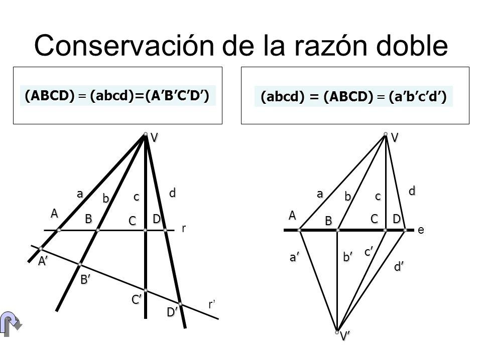 Construcción de cuaternas (ABCD)=(A BCD)=(BDC) CD B r (ABCD)=4/3 CD B=B C D r r 3 4 C b a D A cd C D A r r V