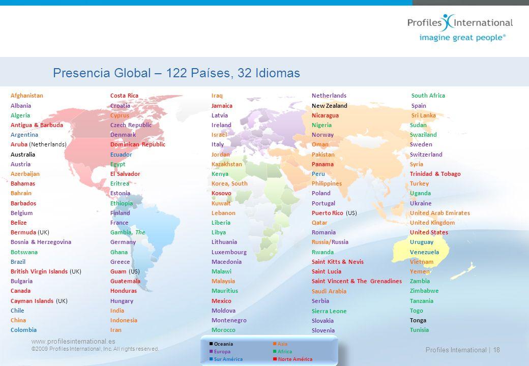 www.profilesinternational.es ©2009 Profiles International, Inc. All rights reserved. Profiles International | 18 Presencia Global – 122 Países, 32 Idi