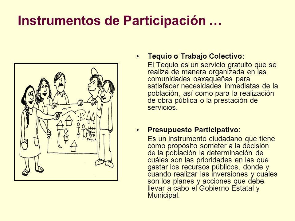 Instrumentos de Participación … Tequio o Trabajo Colectivo: El Tequio es un servicio gratuito que se realiza de manera organizada en las comunidades o
