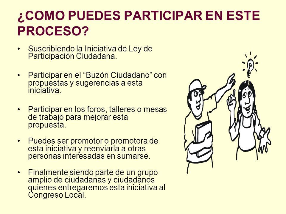 ¿COMO PUEDES PARTICIPAR EN ESTE PROCESO? Suscribiendo la Iniciativa de Ley de Participación Ciudadana. Participar en el Buzón Ciudadano con propuestas