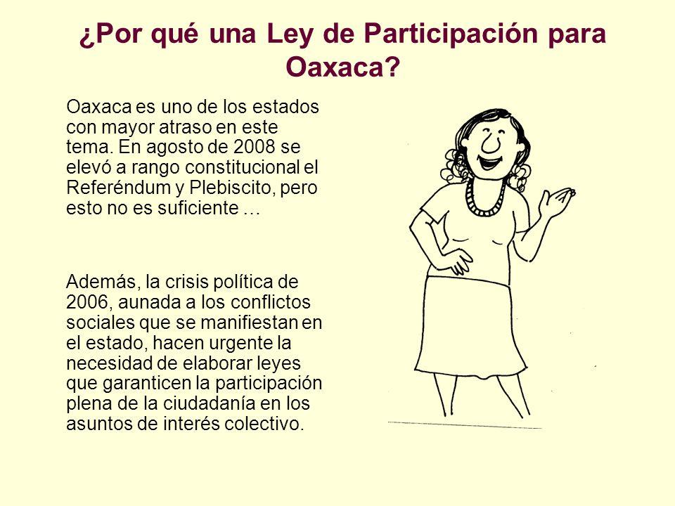 ¿Por qué una Ley de Participación para Oaxaca? Oaxaca es uno de los estados con mayor atraso en este tema. En agosto de 2008 se elevó a rango constitu