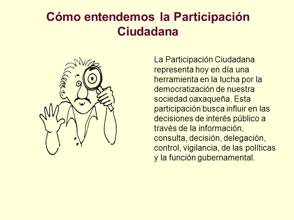 Cómo entendemos la Participación Ciudadana La Participación Ciudadana representa hoy en día una herramienta en la lucha por la democratización de nues