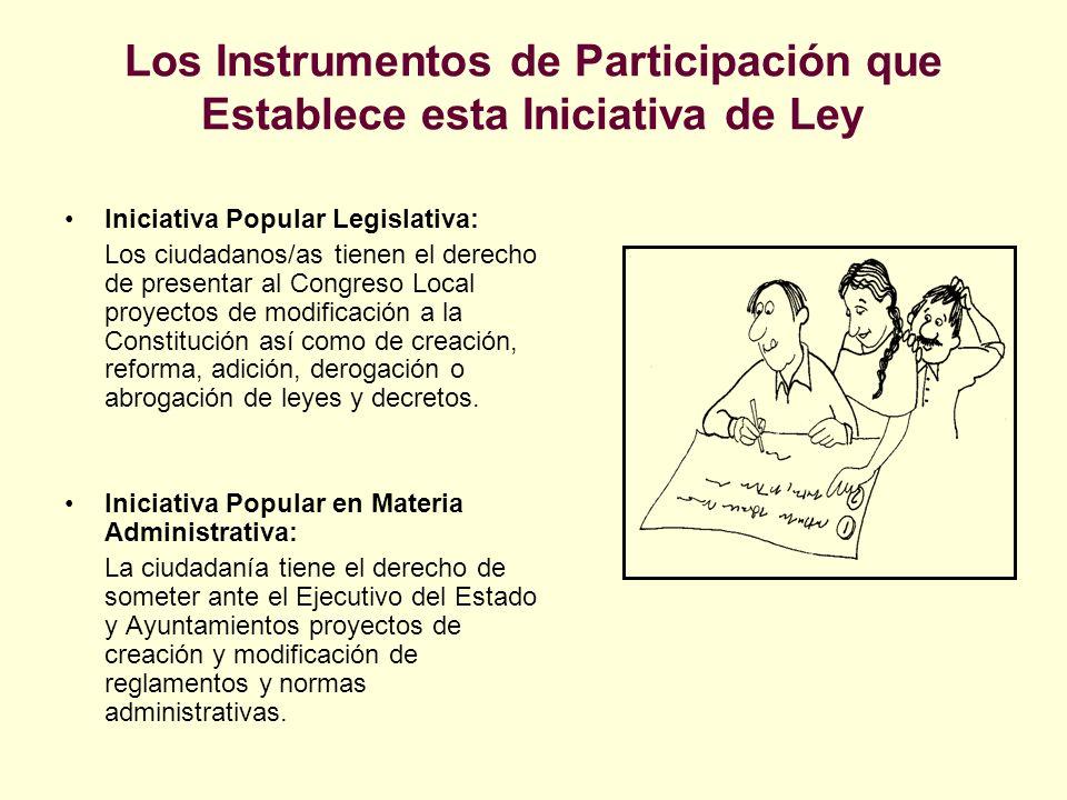 Los Instrumentos de Participación que Establece esta Iniciativa de Ley Iniciativa Popular Legislativa: Los ciudadanos/as tienen el derecho de presenta