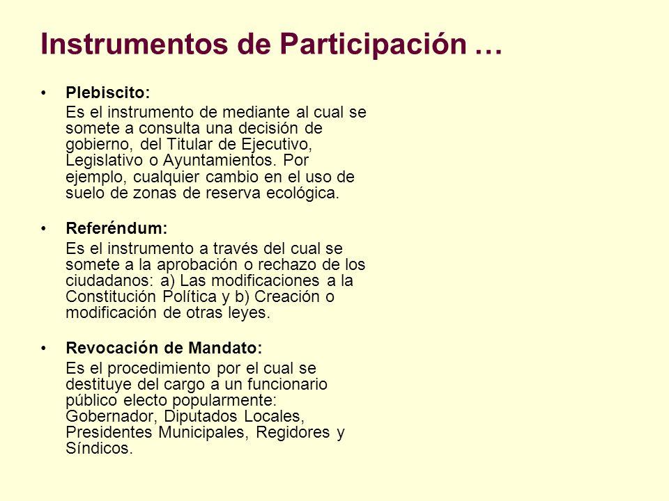 Instrumentos de Participación … Plebiscito: Es el instrumento de mediante al cual se somete a consulta una decisión de gobierno, del Titular de Ejecut