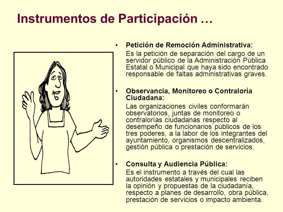 Instrumentos de Participación … Petición de Remoción Administrativa: Es la petición de separación del cargo de un servidor público de la Administració