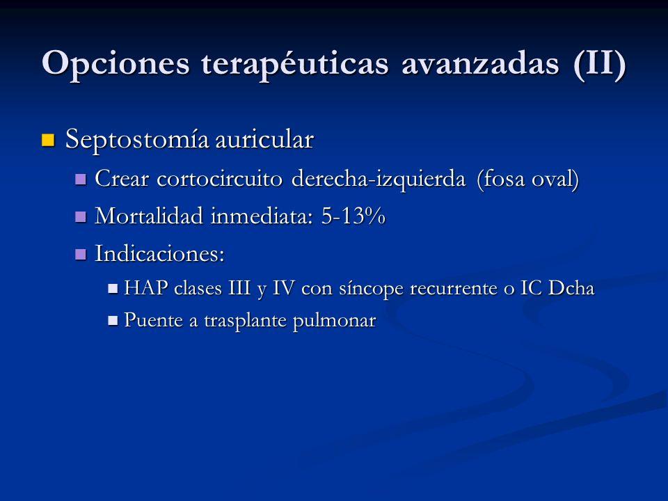 Opciones terapéuticas avanzadas (II) Septostomía auricular Septostomía auricular Crear cortocircuito derecha-izquierda (fosa oval) Crear cortocircuito