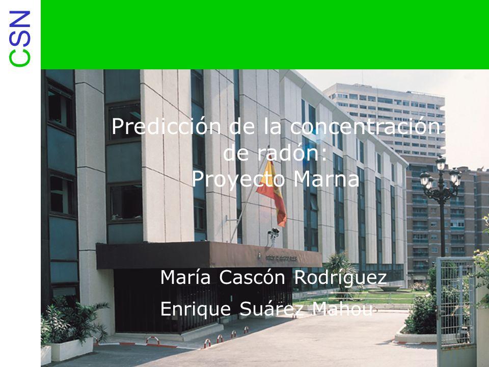 CSN 1a.- Proyecto Marna Proyecto Marna: Proyecto I + D que evalúa niveles de radiación gamma natural en España Colaboración entre el CSN y ENUSA Elaboración de mapa de tasa de exposición de la España peninsular a escala 1:1.000.000