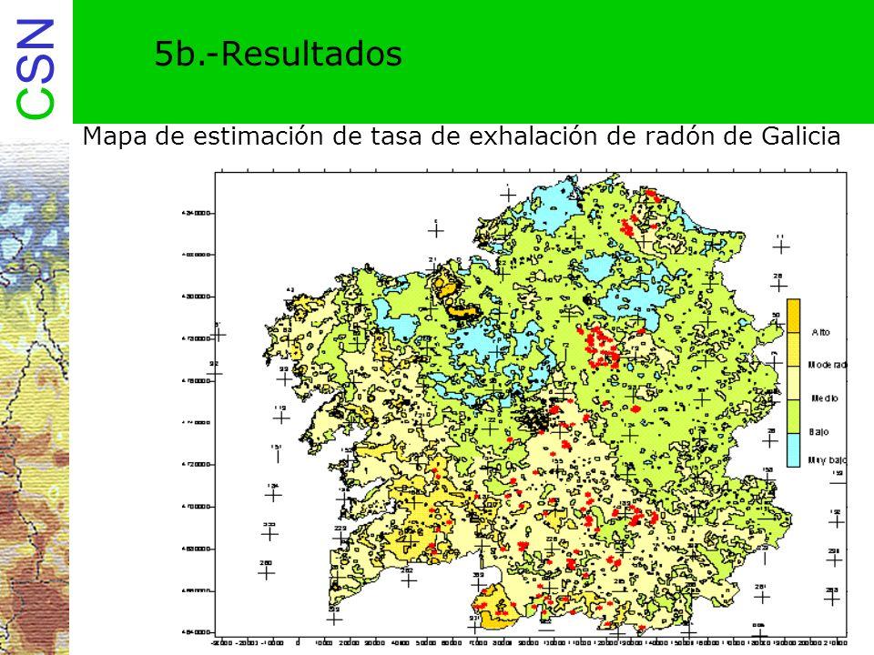 CSN 5b.-Resultados Mapa de estimación de tasa de exhalación de radón de Galicia