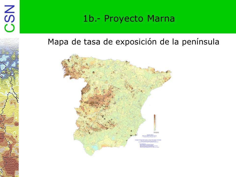 CSN 2a.- Proyecto Marna-Galicia Proyecto Marna-Galicia: Colaboración de la Xunta de Galicia Fase IV del proyecto MARNA Más de 200.000 datos de diversas fuentes: Proyecto Marna, ENUSA, Junta de Energía Nuclear, Portugal Elaboración de mapa de tasa de exposición de Galicia a escala 1:200.000