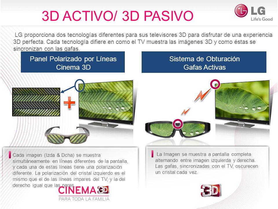 LG proporciona dos tecnologías diferentes para sus televisores 3D para disfrutar de una experiencia 3D perfecta. Cada tecnología difiere en como el TV