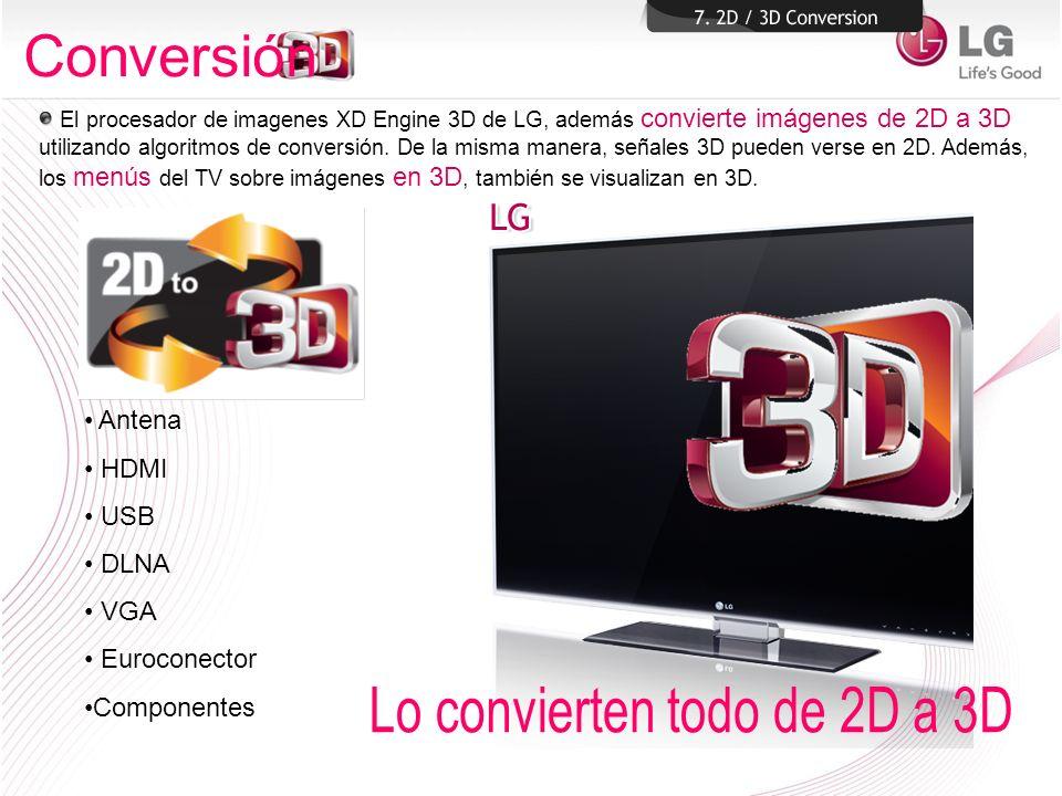 El procesador de imagenes XD Engine 3D de LG, además convierte imágenes de 2D a 3D utilizando algoritmos de conversión. De la misma manera, señales 3D