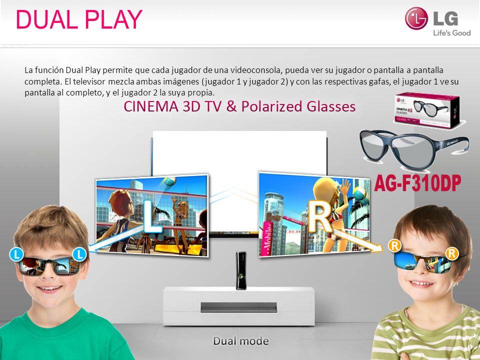 La función Dual Play permite que cada jugador de una videoconsola, pueda ver su jugador o pantalla a pantalla completa. El televisor mezcla ambas imág