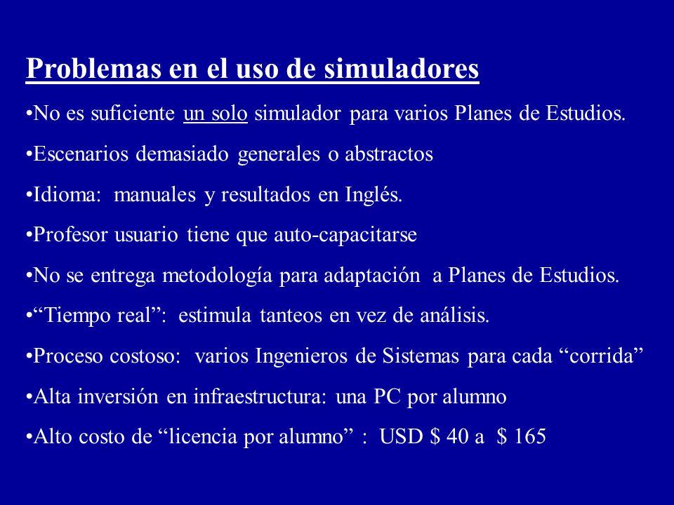Problemas en el uso de simuladores No es suficiente un solo simulador para varios Planes de Estudios. Escenarios demasiado generales o abstractos Idio