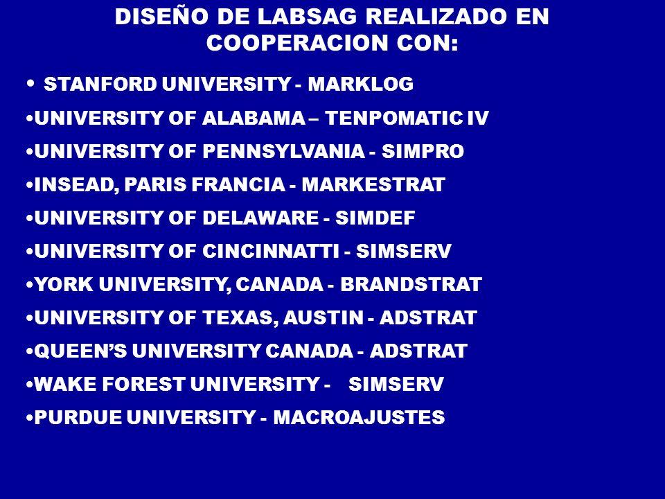 DISEÑO DE LABSAG REALIZADO EN COOPERACION CON: STANFORD UNIVERSITY - MARKLOG UNIVERSITY OF ALABAMA – TENPOMATIC IV UNIVERSITY OF PENNSYLVANIA - SIMPRO