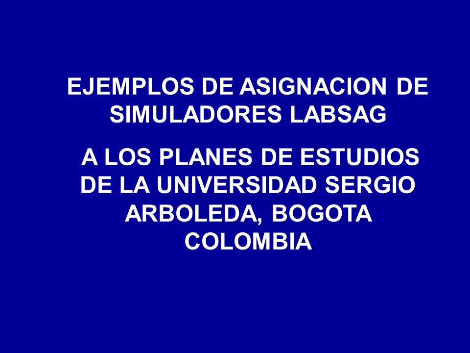 EJEMPLOS DE ASIGNACION DE SIMULADORES LABSAG A LOS PLANES DE ESTUDIOS DE LA UNIVERSIDAD SERGIO ARBOLEDA, BOGOTA COLOMBIA