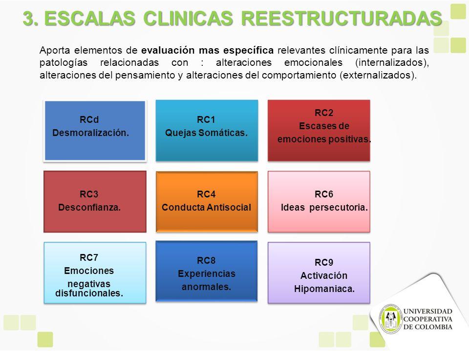 3. ESCALAS CLINICAS REESTRUCTURADAS Aporta elementos de evaluación mas específica relevantes clínicamente para las patologías relacionadas con : alter