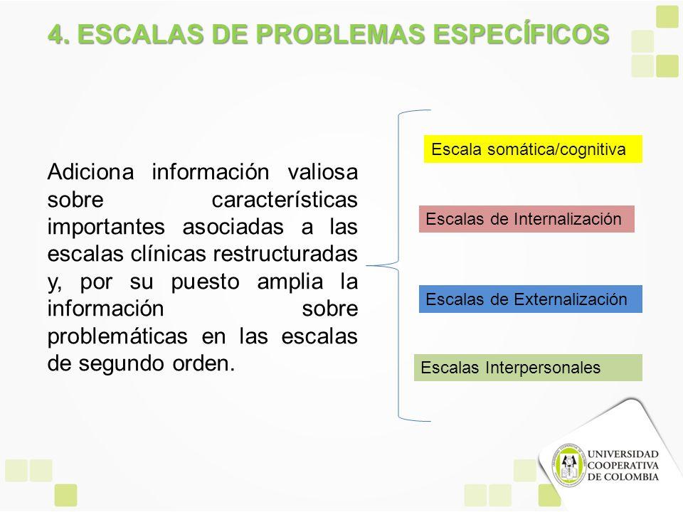 4. ESCALAS DE PROBLEMAS ESPECÍFICOS Adiciona información valiosa sobre características importantes asociadas a las escalas clínicas restructuradas y,