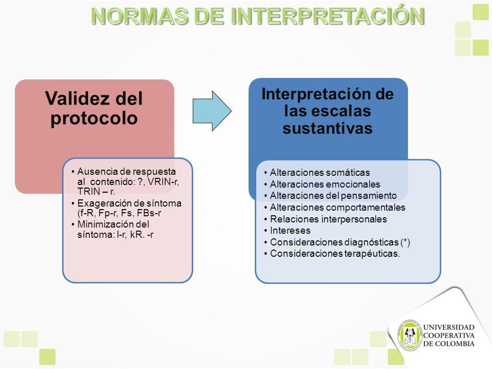 Validez del protocolo Ausencia de respuesta al contenido: ?, VRIN-r, TRIN – r. Exageración de síntoma (f-R, Fp-r, Fs, FBs-r Minimización del síntoma: