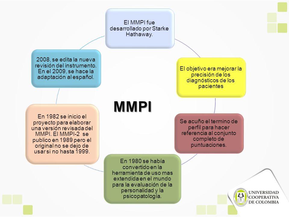 El MMPI fue desarrollado por Starke Hathaway. El objetivo era mejorar la precisión de los diagnósticos de los pacientes Se acuño el termino de perfil