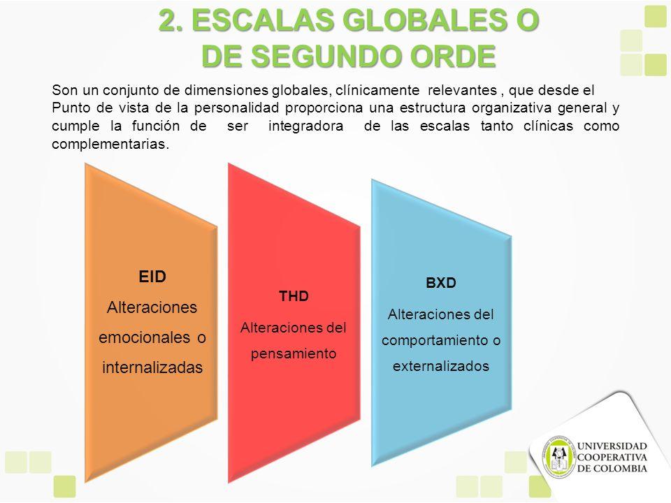 THD Alteraciones del pensamiento BXD Alteraciones del comportamiento o externalizados 2. ESCALAS GLOBALES O DE SEGUNDO ORDE Son un conjunto de dimensi