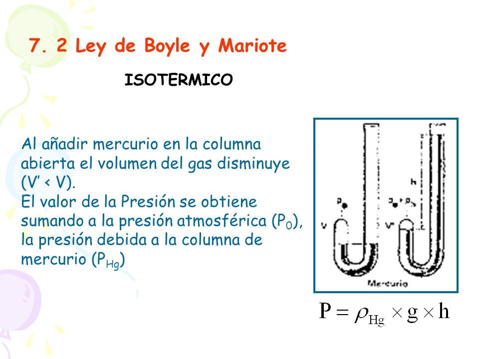 7. 2 Ley de Boyle y Mariote ISOTERMICO Al añadir mercurio en la columna abierta el volumen del gas disminuye (V < V). El valor de la Presión se obtien
