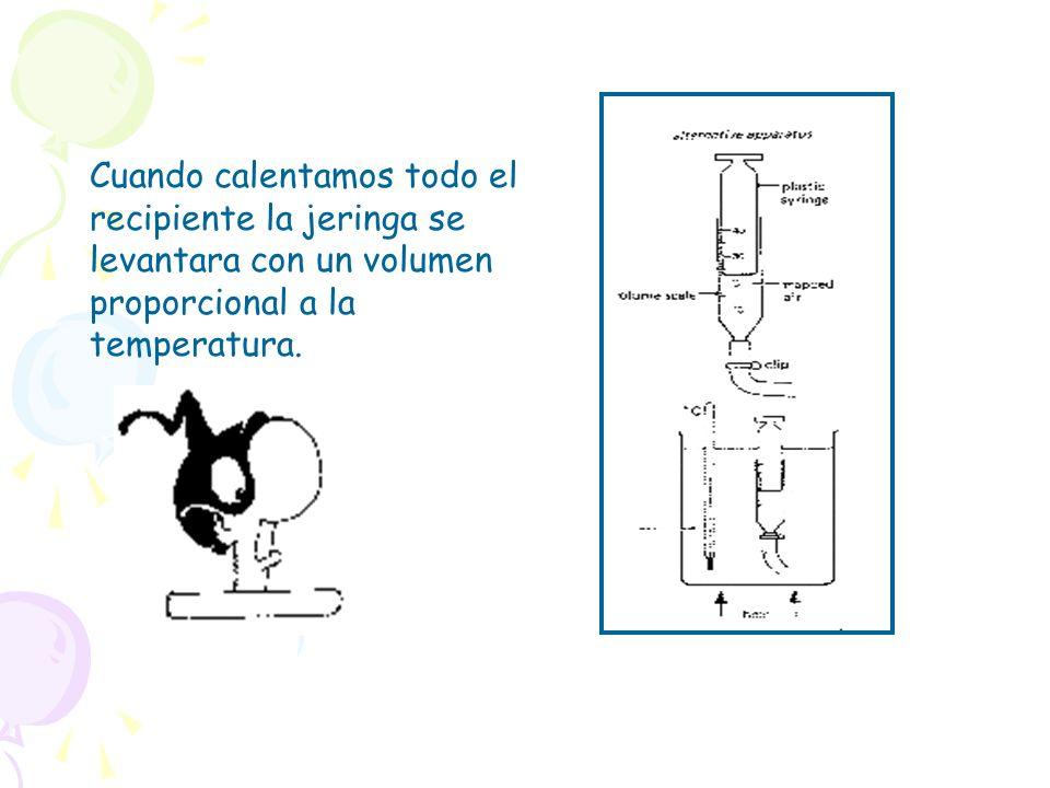 Cuando calentamos todo el recipiente la jeringa se levantara con un volumen proporcional a la temperatura.