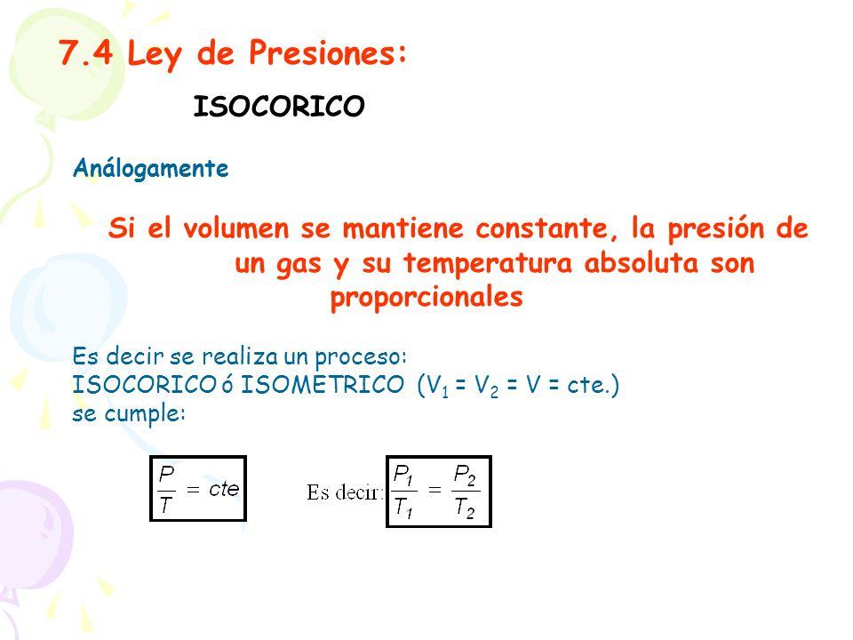 7.4 Ley de Presiones: Análogamente Si el volumen se mantiene constante, la presión de un gas y su temperatura absoluta son proporcionales Es decir se