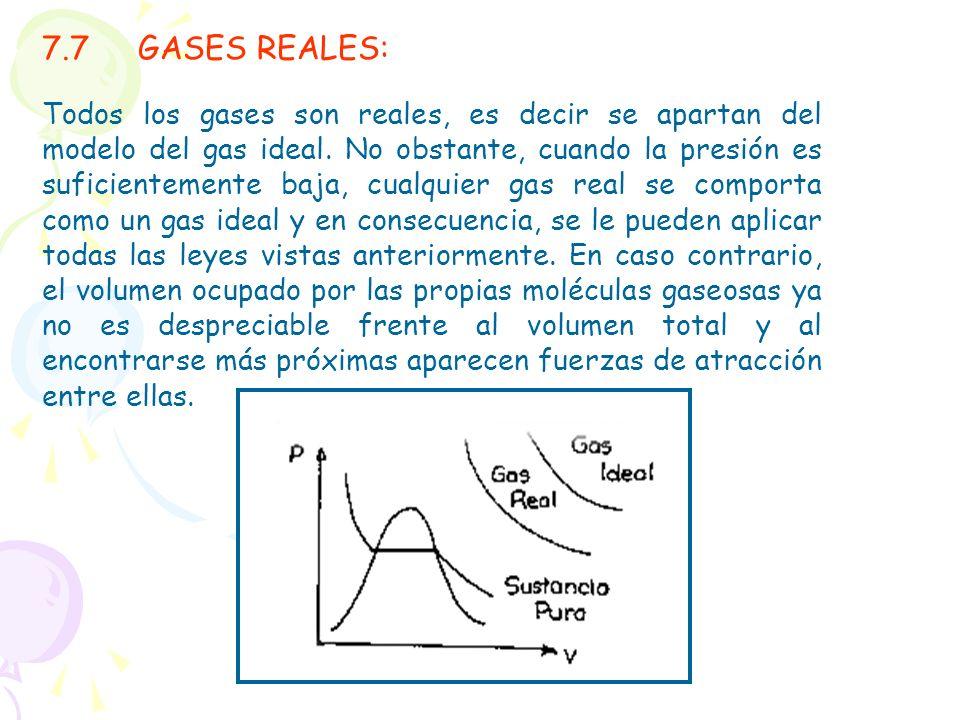 7.7GASES REALES: Todos los gases son reales, es decir se apartan del modelo del gas ideal. No obstante, cuando la presión es suficientemente baja, cua