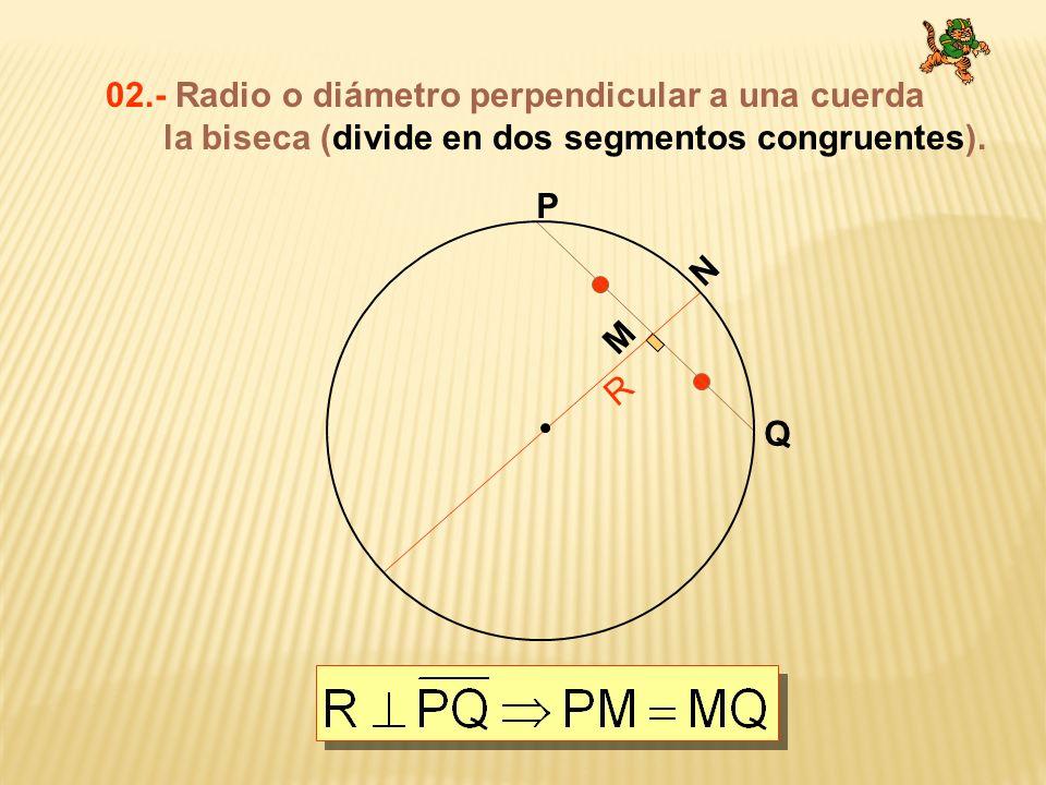 03.-Cuerdas paralelas determinan arcos congruentes entre las paralelas. A B C D