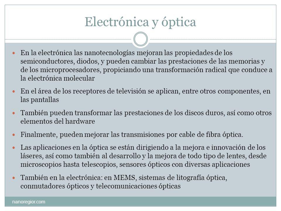 Electrónica y óptica nanoregior.com En la electrónica las nanotecnologías mejoran las propiedades de los semiconductores, diodos, y pueden cambiar las
