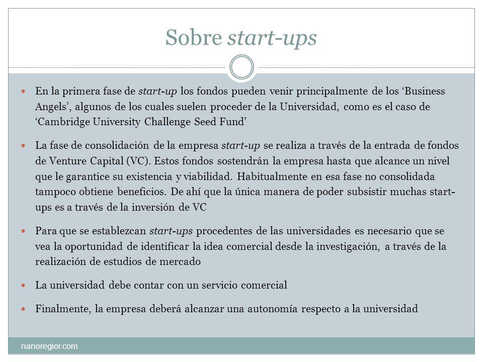 Sobre start-ups nanoregior.com En la primera fase de start-up los fondos pueden venir principalmente de los Business Angels, algunos de los cuales sue