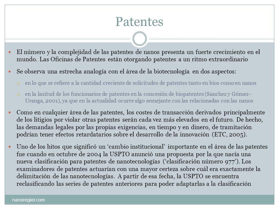 Patentes nanoregior.com El número y la complejidad de las patentes de nanos presenta un fuerte crecimiento en el mundo. Las Oficinas de Patentes están