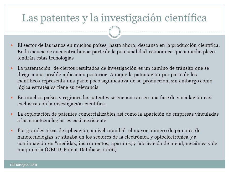 Citas científicas y patentes nanoregior.com Una de las vías de conocer la participación de la investigación científica en las patentes es a través del análisis de las citas bibliográficas de artículos académicos en las patentes En el 2005 aproximadamente el 30% de las citas contempladas en las patentes eran de origen científico (OECD, Patent Database, 2006).