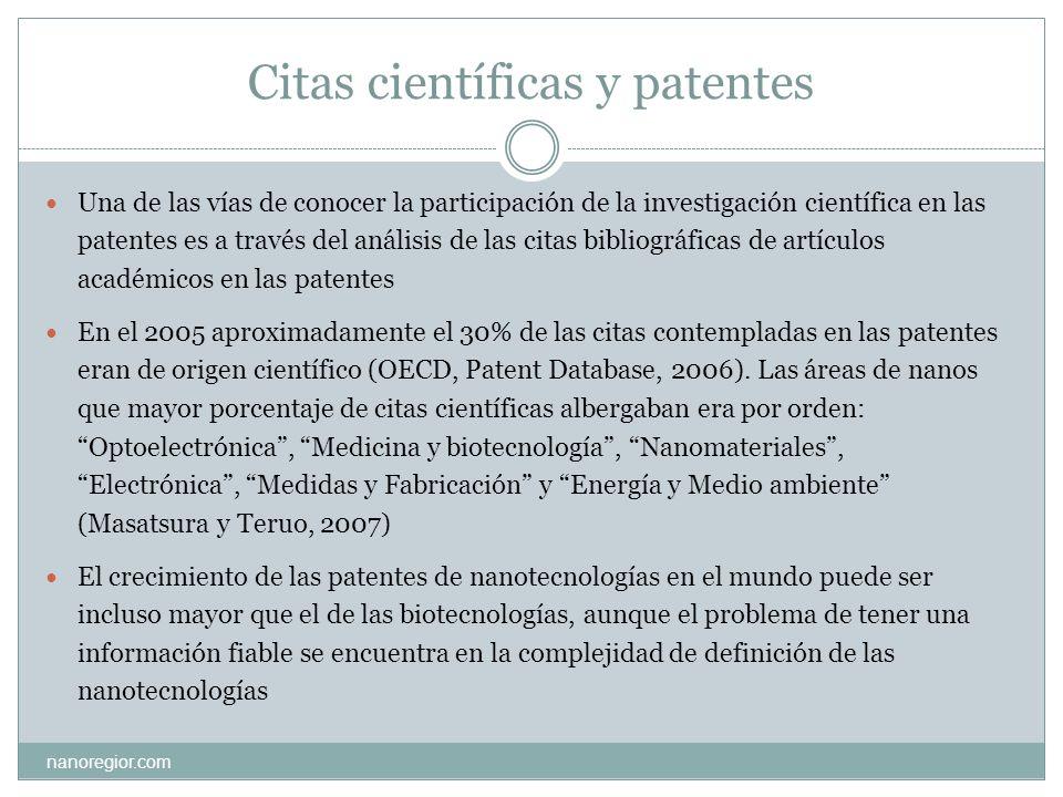 Citas científicas y patentes nanoregior.com Una de las vías de conocer la participación de la investigación científica en las patentes es a través del
