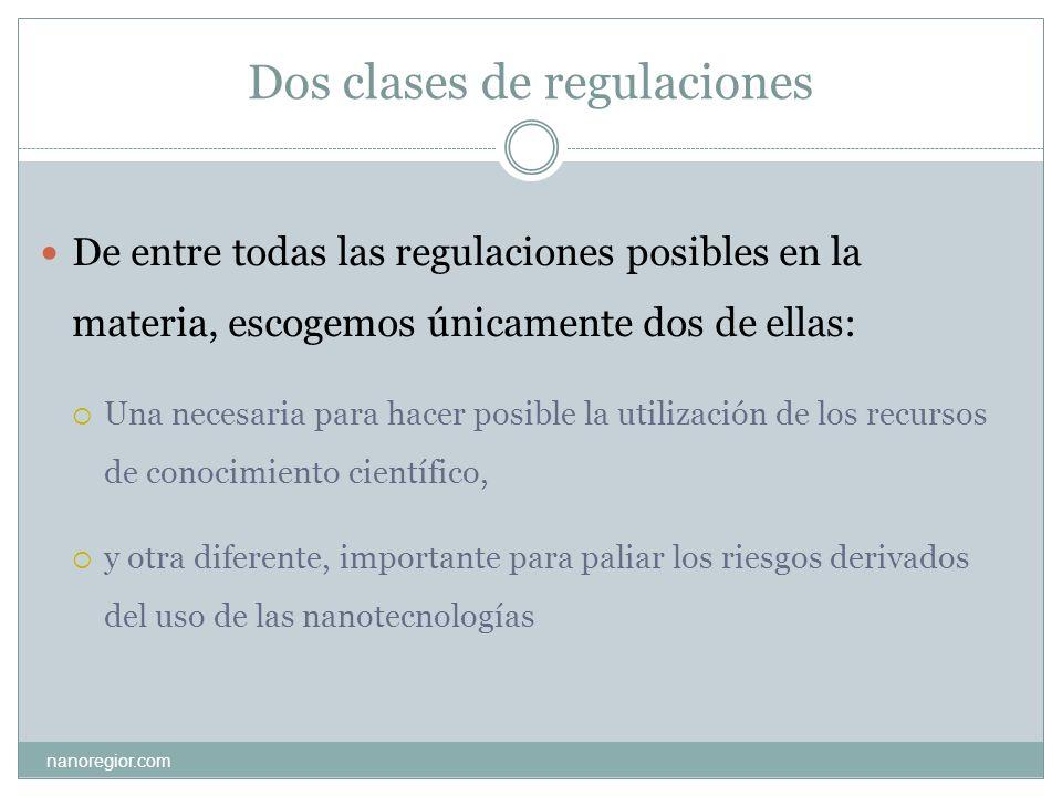 Dos clases de regulaciones nanoregior.com De entre todas las regulaciones posibles en la materia, escogemos únicamente dos de ellas: Una necesaria par