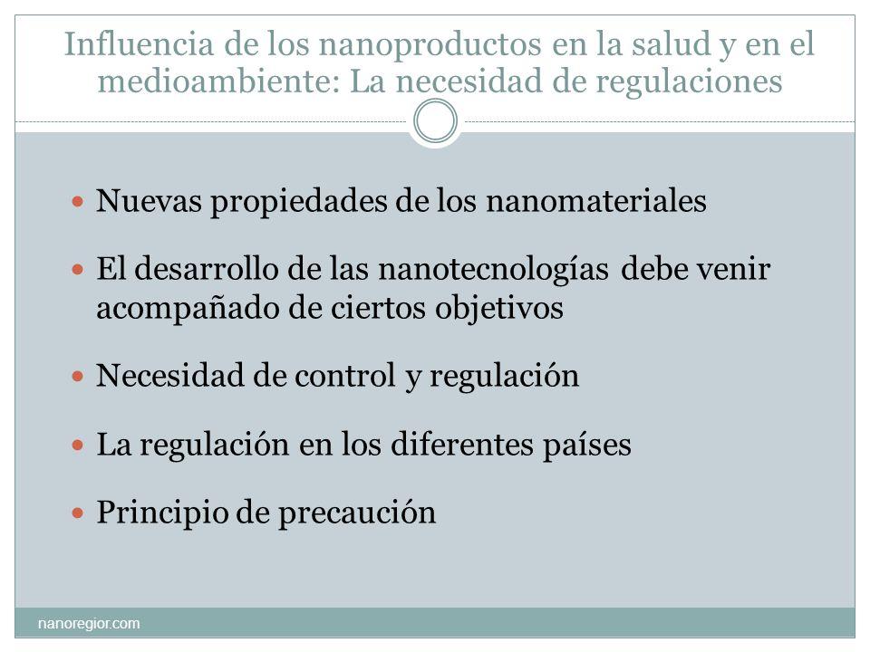 Influencia de los nanoproductos en la salud y en el medioambiente: La necesidad de regulaciones nanoregior.com Nuevas propiedades de los nanomateriale