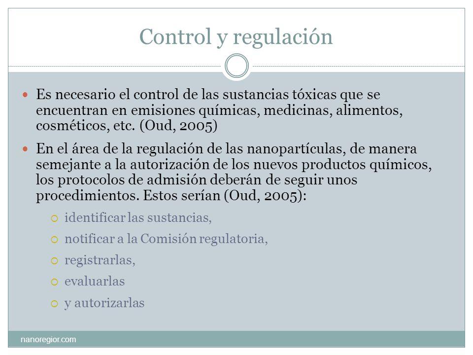 Normativa sectorial y organismos reguladores (I) nanoregior.com En los diferentes países no existe todavía una regulación normativa-legal específica sobre las nanotecnologías.