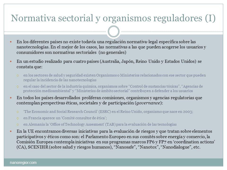 Normativa sectorial y organismos reguladores (I) nanoregior.com En los diferentes países no existe todavía una regulación normativa-legal específica s