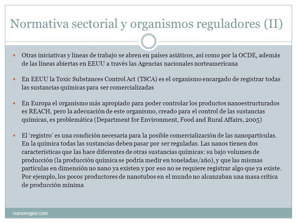 Normativa sectorial y organismos reguladores (II) nanoregior.com Otras iniciativas y líneas de trabajo se abren en países asiáticos, así como por la O