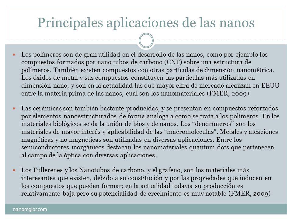 Principales aplicaciones de las nanos nanoregior.com Los polímeros son de gran utilidad en el desarrollo de las nanos, como por ejemplo los compuestos