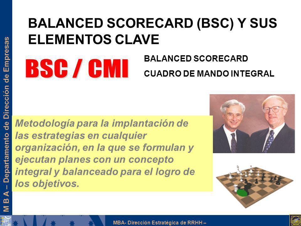 M B A – Departamento de Dirección de Empresas MBA- Dirección Estratégica de RRHH – BALANCED SCORECARD (BSC) Y SUS ELEMENTOS CLAVE BALANCED SCORECARD C