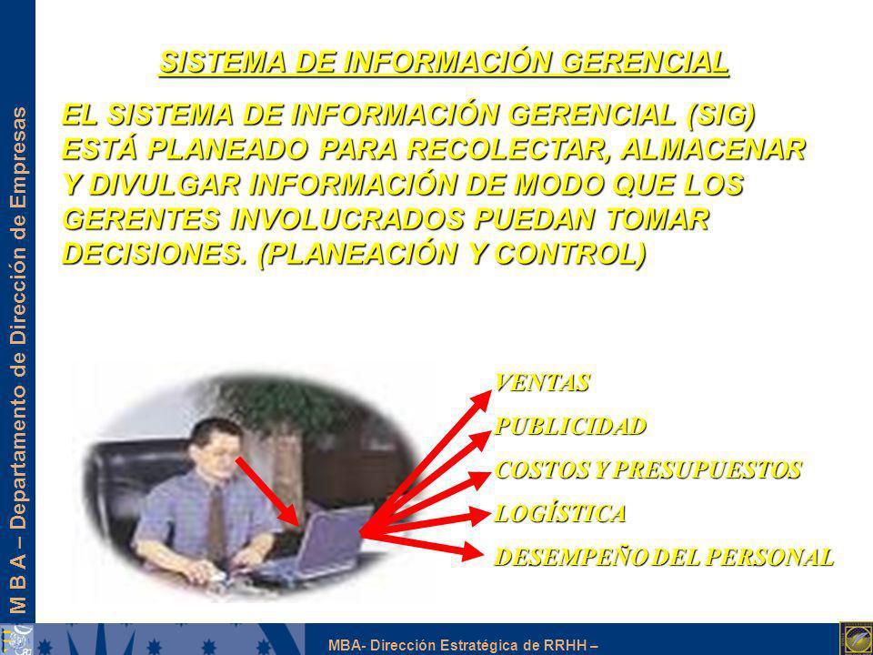 M B A – Departamento de Dirección de Empresas MBA- Dirección Estratégica de RRHH – SISTEMA DE INFORMACIÓN GERENCIAL EL SISTEMA DE INFORMACIÓN GERENCIA