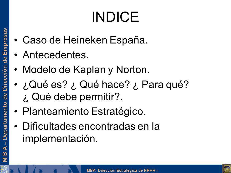 M B A – Departamento de Dirección de Empresas MBA- Dirección Estratégica de RRHH – INDICE Caso de Heineken España. Antecedentes. Modelo de Kaplan y No