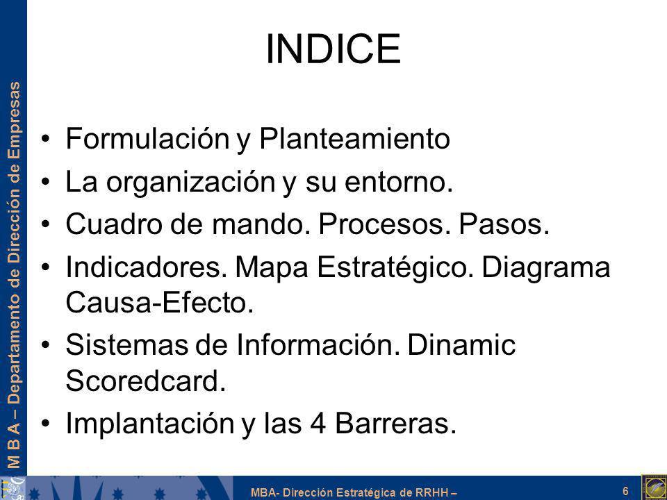 M B A – Departamento de Dirección de Empresas MBA- Dirección Estratégica de RRHH – INDICE Formulación y Planteamiento La organización y su entorno. Cu