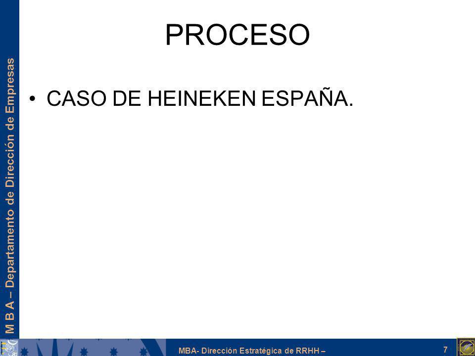 M B A – Departamento de Dirección de Empresas MBA- Dirección Estratégica de RRHH – PROCESO CASO DE HEINEKEN ESPAÑA. 7