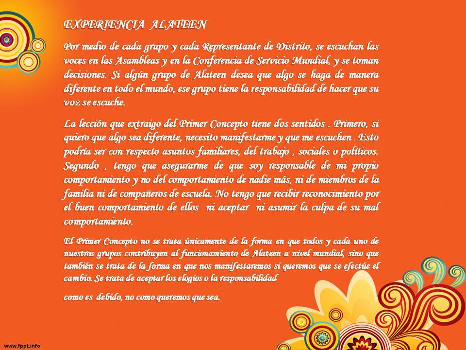 11º Décimo Concepto La Oficina de Servicio mundial está compuesta de comités permanentes, ejecutivos y miembros del personal Voluntario del Comité Selecto de Alateen