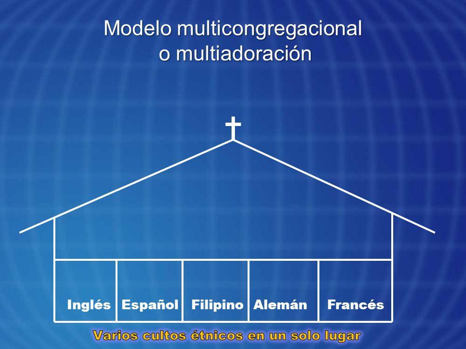 Modelo multicongregacional o multiadoración InglésEspañolFilipinoAlemánFrancés