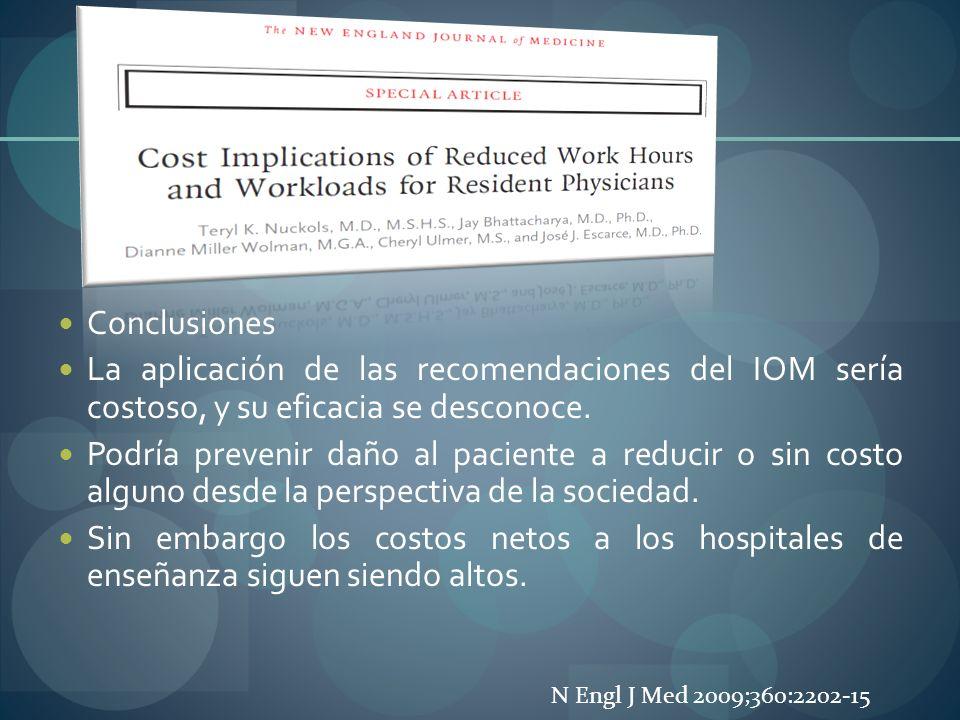 Conclusiones La aplicación de las recomendaciones del IOM sería costoso, y su eficacia se desconoce. Podría prevenir daño al paciente a reducir o sin